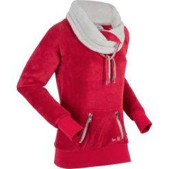 Bluza z polaru, długi rękaw bonprix ciemnoczerwono-matowy srebrny. Czerwone bluzy polarowe bonprix, z długim rękawem, długie. Za 99,99 zł.