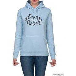Bluza damska. Enjoy the sunset. Niebieskie bluzy z kapturem damskie Pakamera, z nadrukiem. Za 119,00 zł.