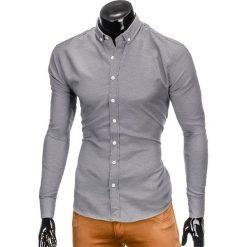 KOSZULA MĘSKA Z DŁUGIM RĘKAWEM K401 - CZARNA. Brązowe koszule męskie na spinki marki Ombre Clothing, m, z aplikacjami, z kontrastowym kołnierzykiem, z długim rękawem. Za 69,00 zł.