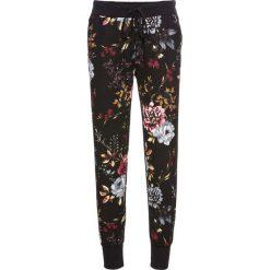 Spodnie dresowe bonprix czarny w kwiaty. Zielone spodnie dresowe damskie marki bonprix, w kropki, z kopertowym dekoltem, kopertowe. Za 79,99 zł.