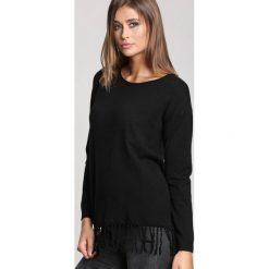 Czarny Sweter Rows Of Fringes. Czarne swetry klasyczne damskie marki other, na jesień, l. Za 89,99 zł.