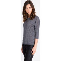 Bluzki damskie: Granatowa bluzka z błyszczącą nicią QUIOSQUE