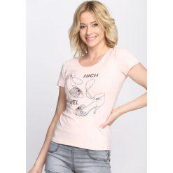 Bluzki damskie: Różowy T-shirt High Level