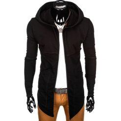 BLUZA MĘSKA Z KAPTUREM NARZUTKA B822 - CZARNA. Czarne bluzy męskie rozpinane marki Ombre Clothing, m, z bawełny, z kapturem. Za 79,00 zł.