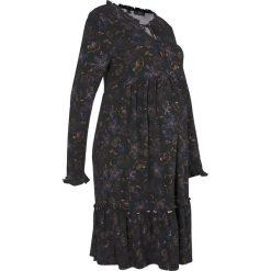 Sukienka ciążowa shirtowa bonprix antracytowy z nadrukiem. Szare sukienki ciążowe bonprix, z nadrukiem, z okrągłym kołnierzem. Za 99,99 zł.