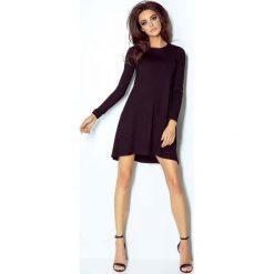 Czarna Sukienka Dzianinowa z Długim Rękawem. Czarne sukienki dzianinowe marki bonprix, do pracy, w paski, biznesowe, moda ciążowa. Za 106,90 zł.