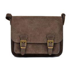 Torebki klasyczne damskie: Skórzana torebka w kolorze ciemnbrązowym – (S)21 x (W)26 x (G)8 cm