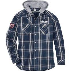 Koszula z długim rękawem i odpinanym kapturem Regular Fit bonprix głęboki niebieski w kratę. Białe koszule męskie na spinki marki bonprix, z klasycznym kołnierzykiem, z długim rękawem. Za 89,99 zł.
