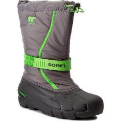 Buty zimowe chłopięce: Śniegowce SOREL – Youth Flurry NY1885 Quarry/Cyber Green 052