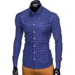 KOSZULA MĘSKA W KRATĘ Z DŁUGIM RĘKAWEM K425 - GRANATOWA. Zielone koszule męskie marki Ombre Clothing, na zimę, m, z bawełny, z kapturem. Za 59,00 zł.