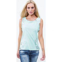 Bluzka z agrafkami miętowa ZZ1095. Zielone bluzki z odkrytymi ramionami marki Fasardi, l. Za 39,00 zł.