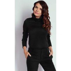 Czarna Bluzka z Szerokim Golfem. Czarne bluzki longsleeves marki Molly.pl, l, z dzianiny, eleganckie, z golfem. W wyprzedaży za 91,05 zł.