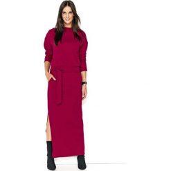 Bordowa Komfortowa Maxi Sukienka z Paskiem. Czarne długie sukienki marki Molly.pl, na spotkanie biznesowe, l, z tkaniny, z dekoltem na plecach, dopasowane. Za 123,90 zł.
