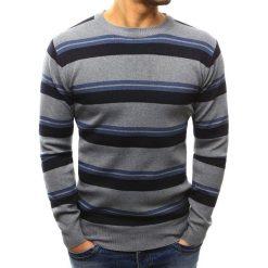Swetry klasyczne męskie: Sweter męski w paski szary (wx1014)