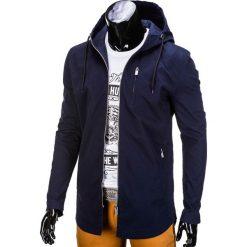 KURTKA MĘSKA PRZEJŚCIOWA PARKA C311 - GRANATOWA. Zielone kurtki męskie przejściowe marki Ombre Clothing, na zimę, m, z bawełny, z kapturem. Za 79,00 zł.