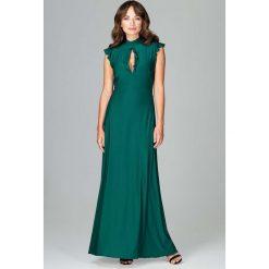 Zielona Subtelna Długa Sukienka z Falbankami. Czerwone długie sukienki marki bonprix, kopertowe. Za 159,90 zł.