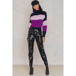 Paski damskie: Trendyol Sweter z półgolfem w paski – Purple,Multicolor