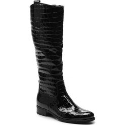 Oficerki GABOR - 91.649.87 Schwarz. Czarne buty zimowe damskie Gabor, z materiału, przed kolano, na wysokim obcasie, na obcasie. Za 839,00 zł.