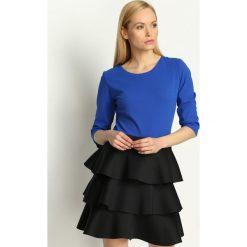 Sukienki hiszpanki: Kobaltowo-Czarna Sukienka Full of Layers