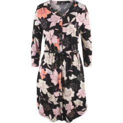 Sukienka, rękawy 3/4 bonprix czarny w kwiaty. Czarne sukienki bonprix, w kwiaty. Za 119,99 zł.