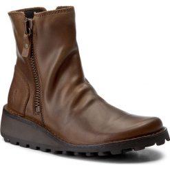 Botki FLY LONDON - Mongfly P210944002 Camel. Brązowe buty zimowe damskie Fly London, z materiału, na obcasie. W wyprzedaży za 329,00 zł.