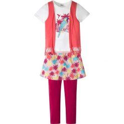 Shirt z doszytą kamizelką + legginsy z doszytą spódniczką (2 części) bonprix jasnoróżowo-kolorowy. Czerwone legginsy dziewczęce marki bonprix, w kolorowe wzory. Za 37,99 zł.