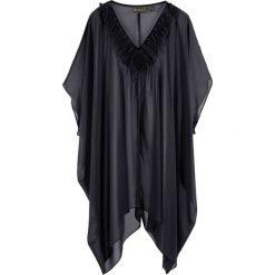 Tunika plażowa bonprix czarny. Czarne tuniki damskie marki bonprix, na plażę, z tkaniny, z asymetrycznym kołnierzem. Za 79,99 zł.