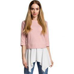 Pudrowa Bluzka z Asymetryczną Falbanką. Czerwone bluzki asymetryczne marki Molly.pl, l, z jeansu, biznesowe, z dekoltem na plecach, z długim rękawem. Za 104,90 zł.