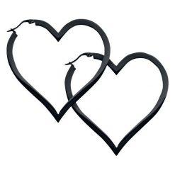Kolczyki damskie: Wildcat Heart Hoops Kolczyki czarny