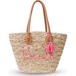 Torba plażowa Beach bonprix naturalno-różowy. Brązowe torby plażowe marki bonprix, w kolorowe wzory, ze skóry, z pomponami. Za 89,99 zł.