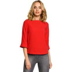 Bluzki damskie: Czerwona Ciekawa Bluzka Damska z Długim Suwakiem