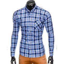 KOSZULA MĘSKA W KRATĘ Z DŁUGIM RĘKAWEM K393 - BŁĘKITNA. Brązowe koszule męskie na spinki marki Ombre Clothing, m, z aplikacjami, z kontrastowym kołnierzykiem, z długim rękawem. Za 49,00 zł.