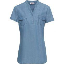 Tunika dżinsowa, krótki rękaw bonprix średni niebieski. Niebieskie tuniki damskie bonprix, z krótkim rękawem. Za 49,99 zł.