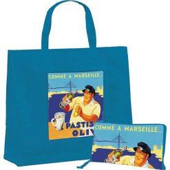 """Torba """"Pastis Olive"""" w kolorze niebieskim na zakupy - 46 x 40 x 19 cm. Niebieskie shopper bag damskie Éditions Clouet, z nadrukiem, z tworzywa sztucznego, z nadrukiem. W wyprzedaży za 24,95 zł."""