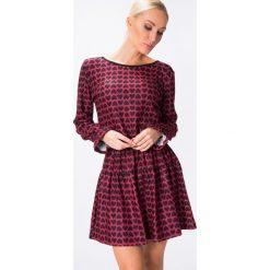 Sukienki: Sukienka w serduszka bordowa 15200