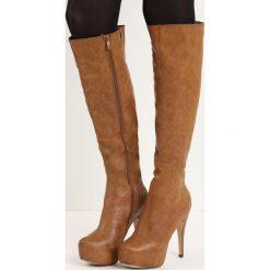 Brązowe Kozaki Duality. Czarne buty zimowe damskie marki Kazar, ze skóry, przed kolano, na wysokim obcasie, na obcasie. Za 64,99 zł.