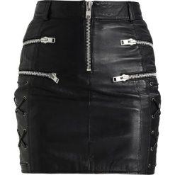 Minispódniczki: Topshop SIDE ZIP Spódnica skórzana black
