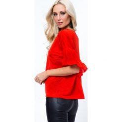 Bluzki damskie: Bluzka z falbankami przy rekawach czerwona MP13004