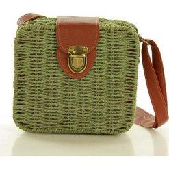 Koszyk torebka pleciona kwadratowa hit zielona. Zielone torebki klasyczne damskie marki MAZZINI, w paski, z jeansu. Za 129,00 zł.