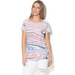 Colour Pleasure Koszulka damska CP-034  282 niebiesko-błękitno-różowa r. XXXL-XXXXL. Fioletowe bluzki damskie marki Colour pleasure, uniwersalny. Za 70,35 zł.