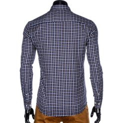 KOSZULA MĘSKA W KRATĘ Z DŁUGIM RĘKAWEM K429 - GRANATOWA/BEŻOWA. Brązowe koszule męskie na spinki marki Ombre Clothing, m, z aplikacjami, z kontrastowym kołnierzykiem, z długim rękawem. Za 59,00 zł.