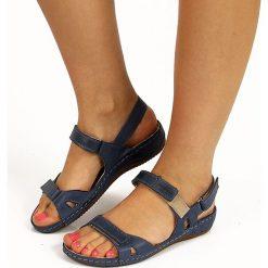 Rzymianki damskie: Skórzane granatowe sandały komfortowe HELIOS 205
