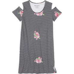 Koszula nocna bonprix czarno-biały w paski i kwiaty. Szare koszule nocne i halki marki bonprix, w paski. Za 37,99 zł.
