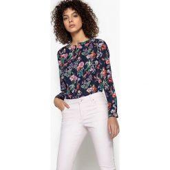 Bluzki asymetryczne: Bluzka z dekoltem V, kwiecisty nadruk, długi rękaw