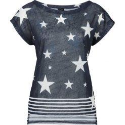 T-shirt bonprix ciemnoniebiesko-biały z nadrukiem. Białe t-shirty damskie bonprix, z nadrukiem, z dekoltem w łódkę. Za 29,99 zł.