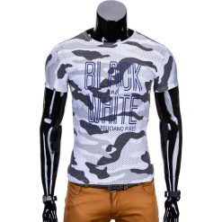 T-shirty męskie: T-SHIRT MĘSKI Z NADRUKIEM S741 – SZARY