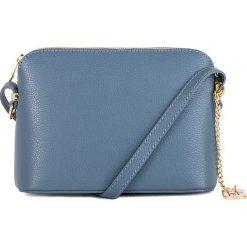 Torebki klasyczne damskie: Skórzana torebka w kolorze błękitnym - 20 x 14 x 7 cm