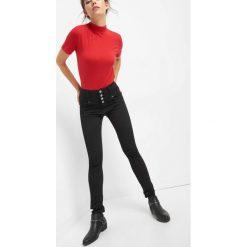 Jeansy skinny z wysokim stanem. Brązowe jeansy damskie skinny marki Orsay, s, z dzianiny. Za 149,99 zł.