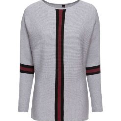 Sweter dzianinowy bonprix szaro-czarno-czerwony klonowy. Szare swetry klasyczne damskie bonprix, z dzianiny, z dekoltem w łódkę. Za 99,99 zł.