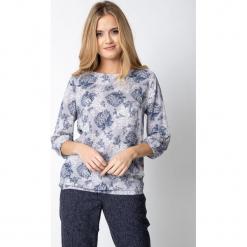 Szara bluzka z kwiatowym wzorem QUIOSQUE. Czarne bluzki longsleeves marki bonprix, w kwiaty, z dekoltem w serek. W wyprzedaży za 99,99 zł.